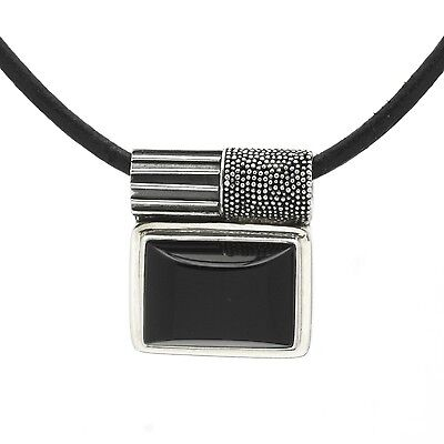 Handcrafted Artisan Signed Lori Bonn Sterling Silver Black Onyx Pendant Necklace
