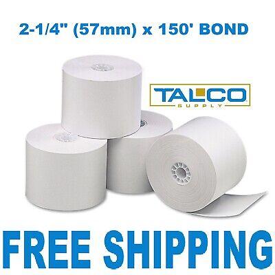 12 Calculator Plain Paper Rolls 2-14 X 150 Bond Fast Free Shipping