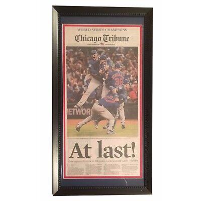 Chicago Cubs 2016 World Series Baseball Champs At Last Tribune Framed Newspaper