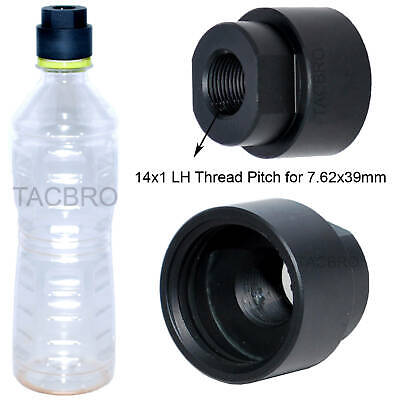 Black 7.62x39 Soda Pop Bottle 14x1 LH TPI Cleaning Patch Trap Muzzle Adapter