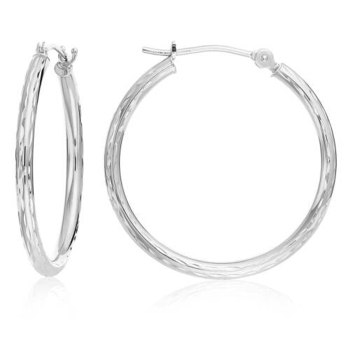 14k Real White Gold Hand Engraved Full Diamond-cut Round Hoop Earrings, Stamped