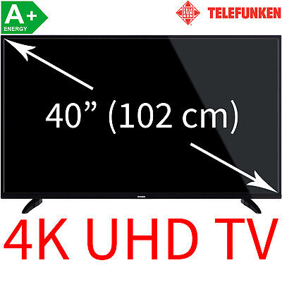 "Telefunken 40"" 4K UHD LED TV Triple Tuner Smart TV HDR WLAN Fernseher 102 cm A+"