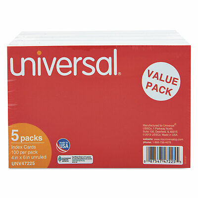 Universal Unruled Index Cards 4 X 6 White 500pack 47225