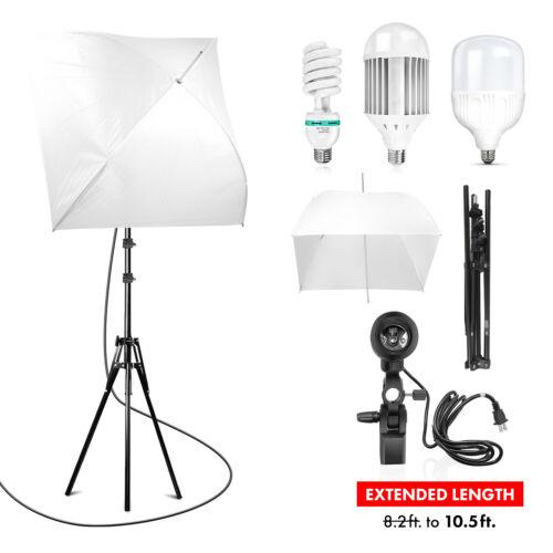 Photography 24-inch Softbox Umbrella Lighting Kit - Light Stand/LED Photo Bulbs