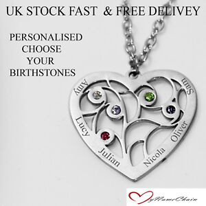 fdca08dcec7a Personalised Heart 5 Birthstone Name Necklace Any Names Silver Jewellery  Gift UK