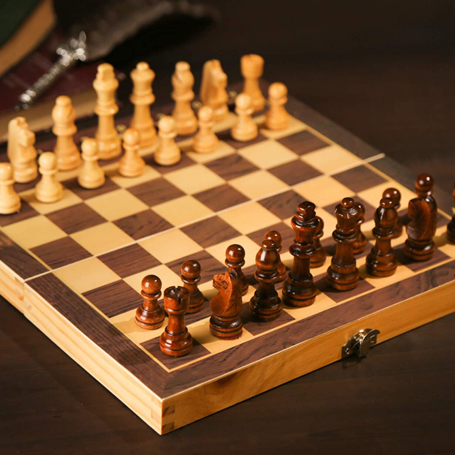 Buy Best Vintage Wooden Chess Set Wood Board Hand Carved Crafted Folding Game.