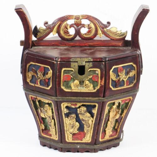 Antique Vintage Chinese Wood Carved Tea Pot Carrier Octagon Basket with Lid