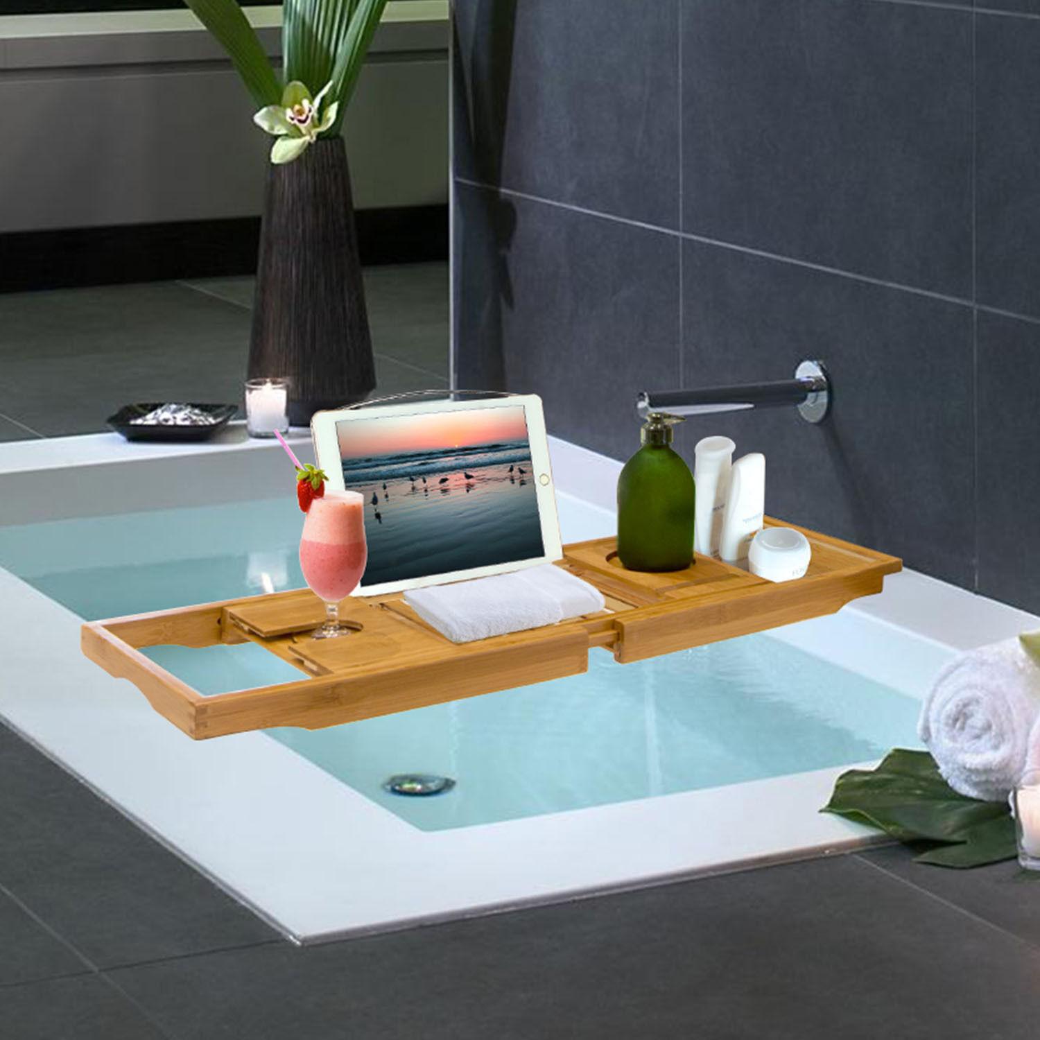 image of reisa bath home pillow cloth caddy tub bamboo decor by bathtub