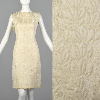 S 1960s 28 Shop White Sleeveless Wedding Dress Short Bridal Gown Wool Blend 60s