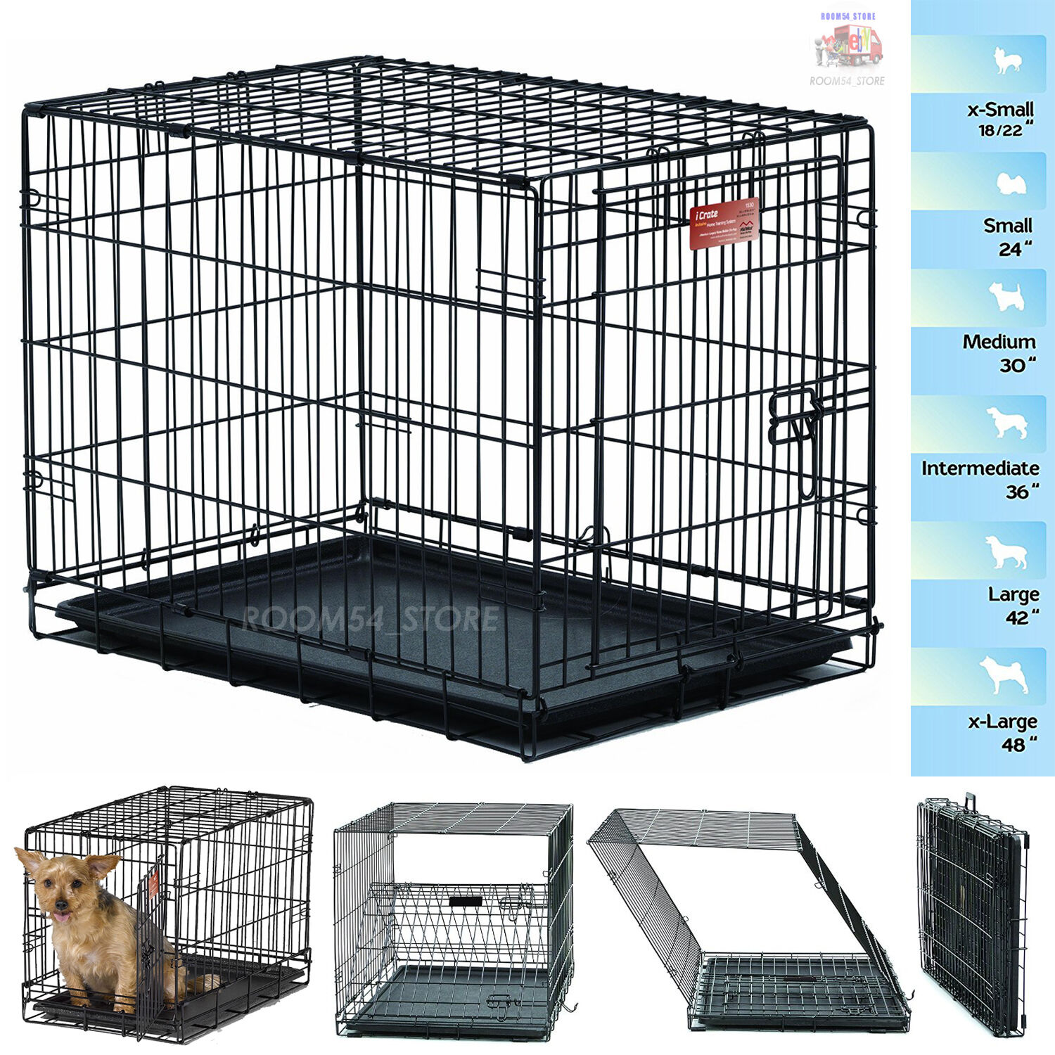 Dog Folding Crate Kennel Small Extra Large Dog Single Door T
