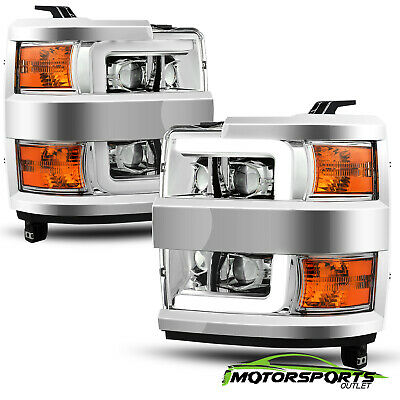 For 2015-2019 Chevy Silverado 2500/3500 Chrome LED DRL Projector Headlights Pair