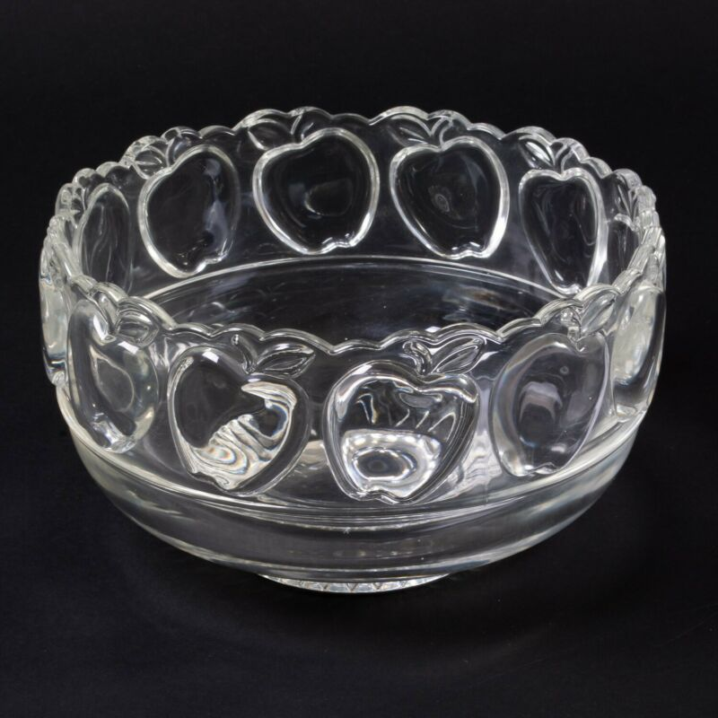 Signed Tiffany & Co Crystal Large Centerpiece Bowl Apple Pattern Teacher Gift 8""