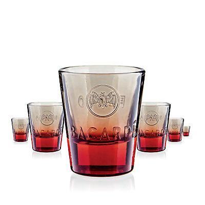 6 x Bacardi Glas Gläser Schnapsglas Shotglas Fuego Gastro Bar Deko NEU