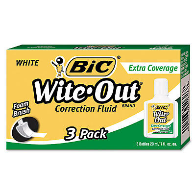 Bic Wite-out Extra Coverage Correction Fluid 20 Ml Bottle White 3pack Wofec324