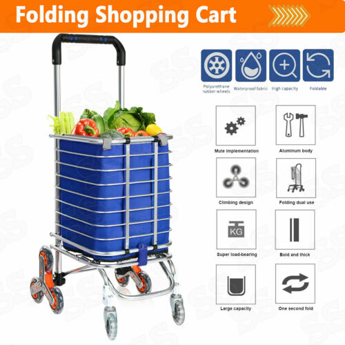 Folding Shopping Cart Grocery Trolley Laundry Stair Climbing Handcart W/ Bag