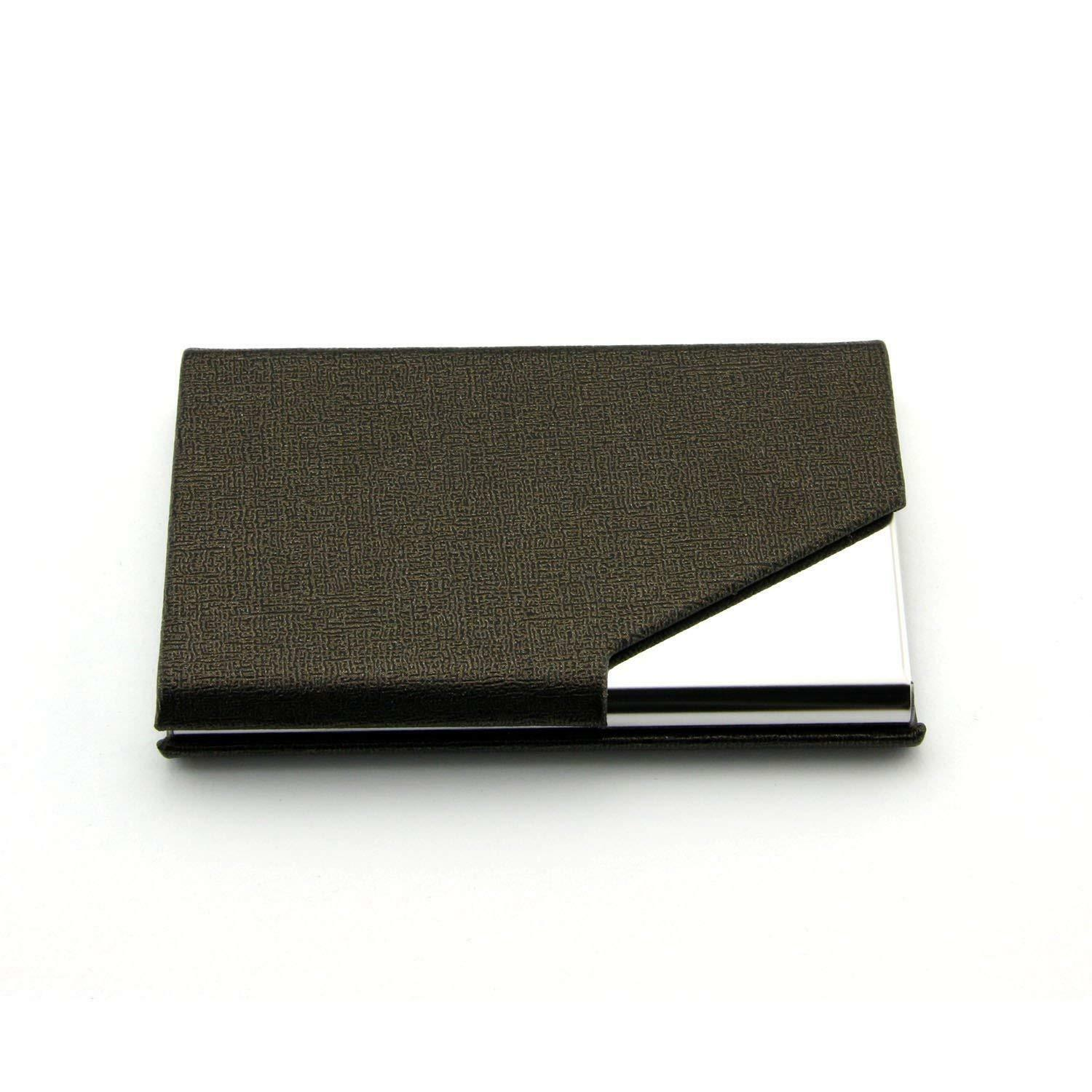 2Pcs Stainless Pocket Business Card Holder Case ID Credit Name Box Steel Wallet Clothing, Shoes & Accessories