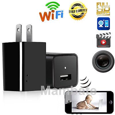 Mini WIFI 1080P Hidden Spy Camera Wall Charger Wireless HD USB Nanny Cam US