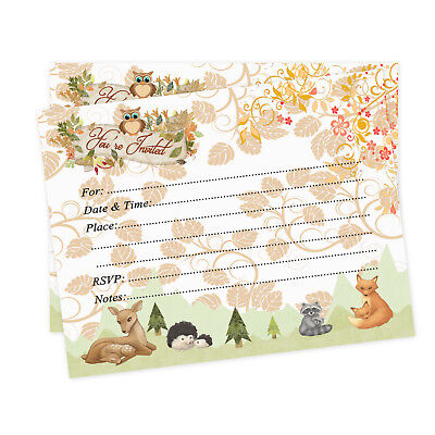 Baby Shower Invitations Woodland Boy Girl Invites Fall Owl Deer Fox Invites 20 - Owl Boy Baby Shower