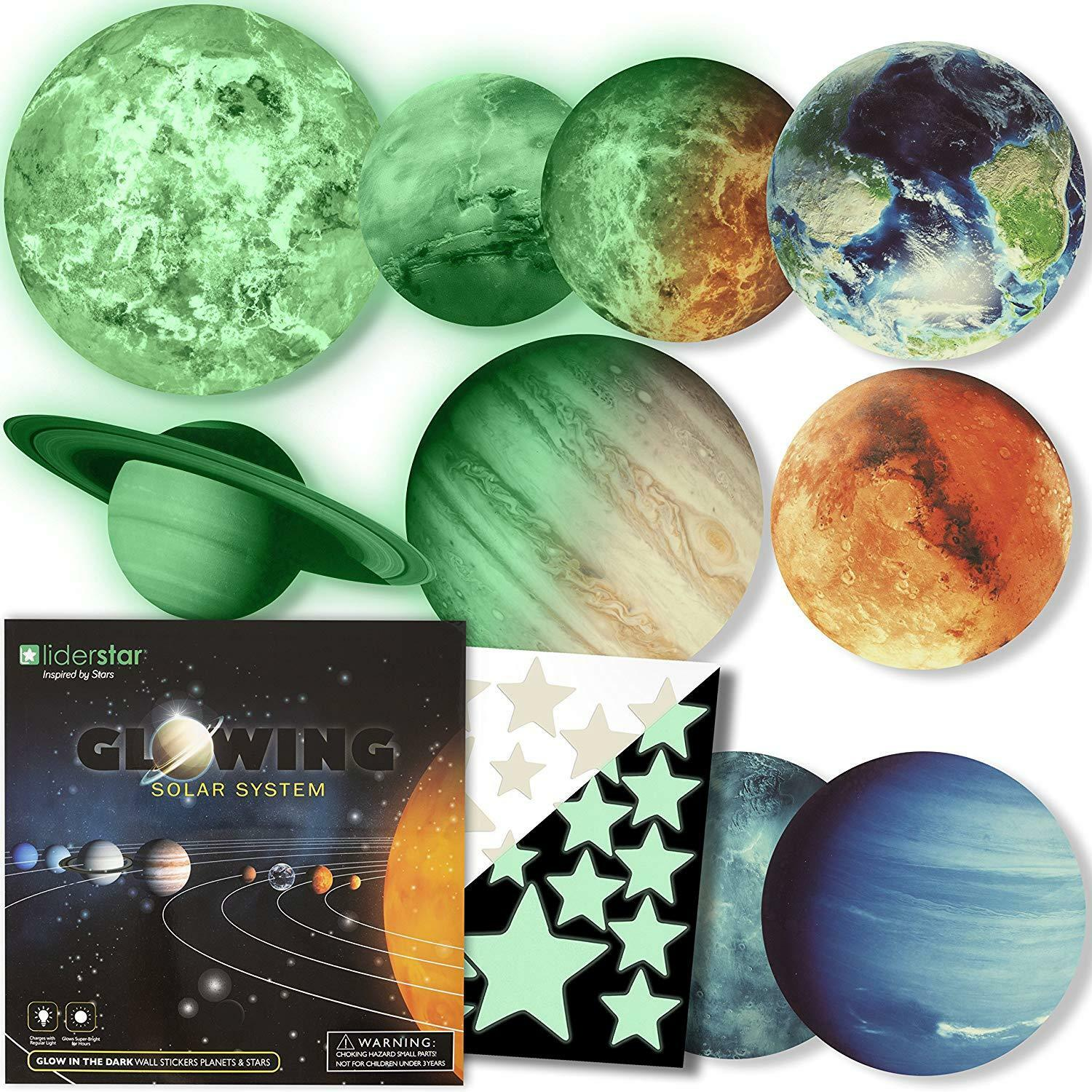 LIDERSTAR  Glow in The Dark Stars and Planets, Bright Solar