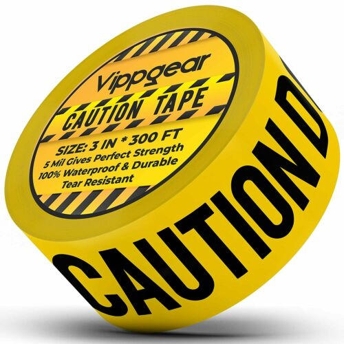 Vippgear Yellow Caution Tape 3 inch x 300 Feet Non-Adhesive Hazard Tape