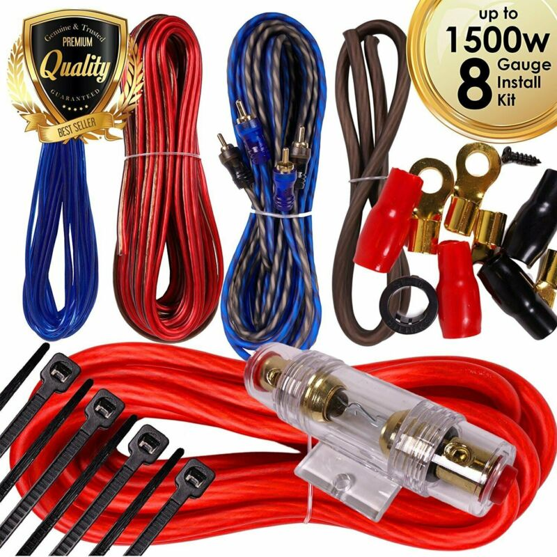 Complete 1500W 8 Gauge Car Amplifier Installation Wiring Kit Amp PK3 8 Ga Red