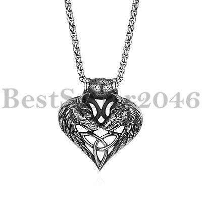 Mens Wolf Head Heart Celtic Knot Pendant Biker Stainless Steel Necklace 22