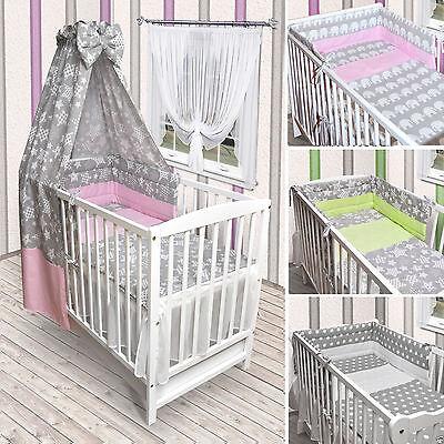 Babybett Kinderbett weiß Bettwäsche Bettset komplett NEU Sterne Grau