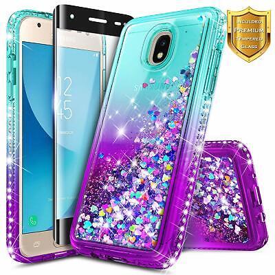 SAMSUNG GALAXY J7 Crown/Refine/Star Case Liquid Glitter Cover + Tempered Glass
