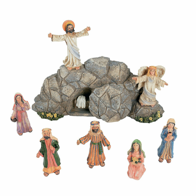 Easter Resurrection Scene Set With Story Card - Religious Home Decor - 8 Pieces