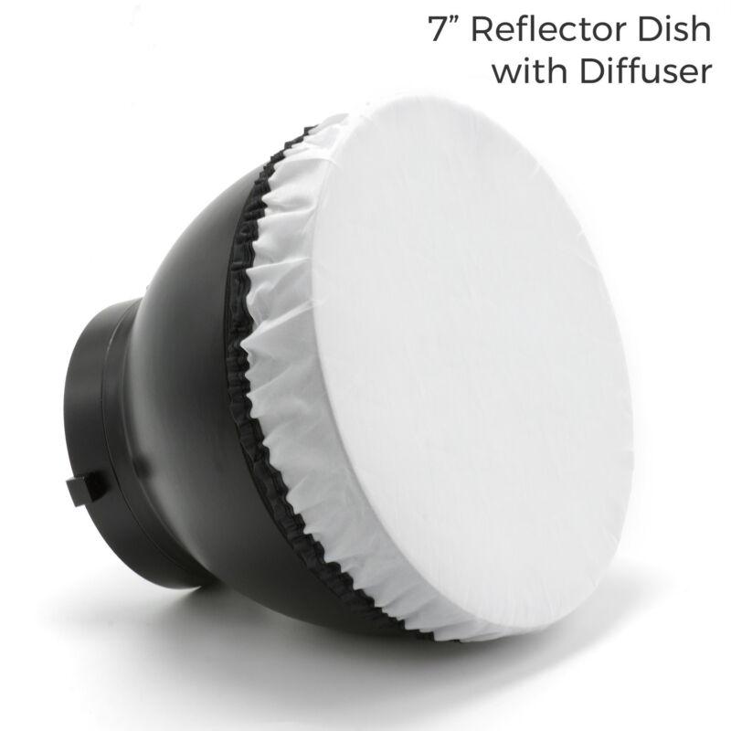 """Photography Studio Dish Reflector 7"""" for Flash Strobe with White Diffuser Cover"""