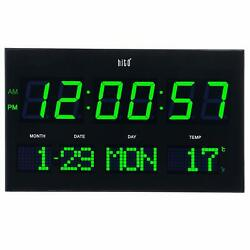 hito 14.2� Large Oversized LED Wall Clock Seconds Date Day Indoor Temperature
