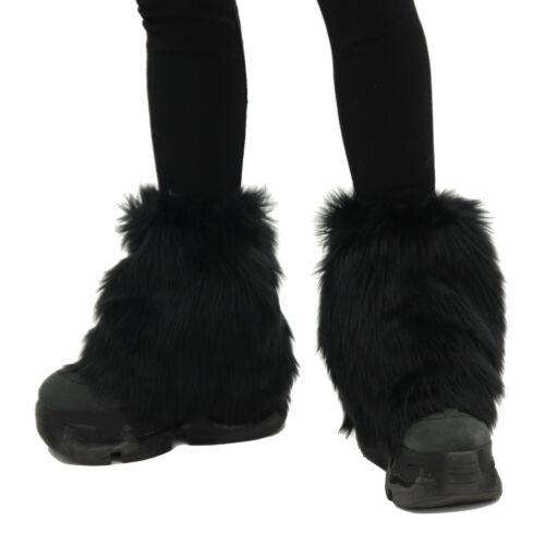 PAWSTAR Ankle Furry Leg Warmers - Fluffies Fuzzy Cuffs Fur Sexy Black [BK]2590