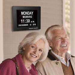 Clear Clock Digital Memory Loss Calendar Day Clock W/Alarm Dementia Alzheimer's