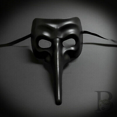 All black Laser Cut Medieval Plague Doctor Face Design Masquerade Mask (All Black Mask)
