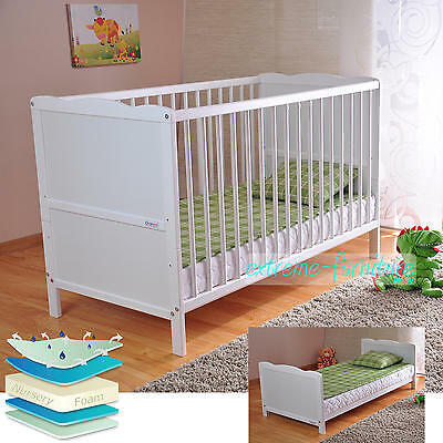 Wooden Baby Cot Bed & Deluxe Water Repellent Mattress Converts to Junior Bed
