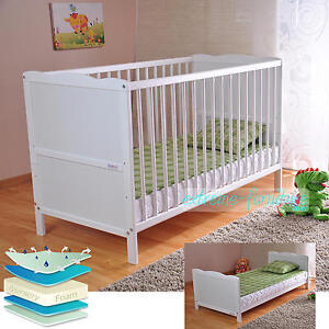 White Solid Wood Baby Cot Bed  & Deluxe Foam Mattress Converts into a Junior Bed