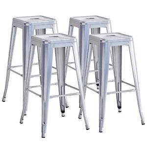 Set Of 4 Metal Bar Stools 30 High Backless Stackable Tolix Style