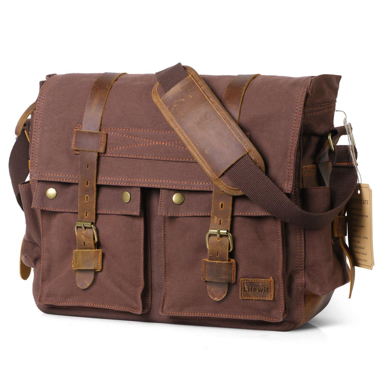 Lifewit 17.3'' Men Messenger Bag Vintage Canvas Leather Mili