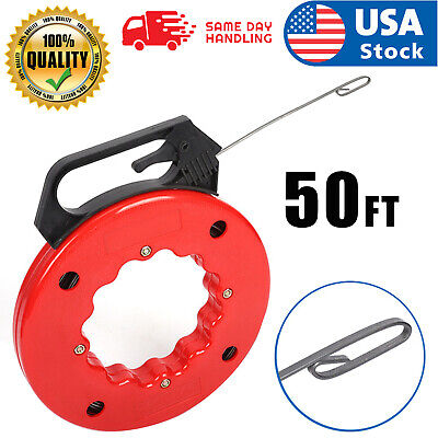 50ft Steel Cable Fish Tape Electric Wire Cable Line Puller In High Plastic Case