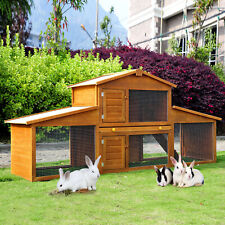 2-Story Rabbit Hutch Wooden Small Animal House Backyard Cage w/Outdoor Run, Ramp