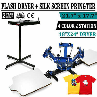 4 Color 2 Station Silk Screen Printing Machine 24 Flash Dryer T-shirt Press Kit