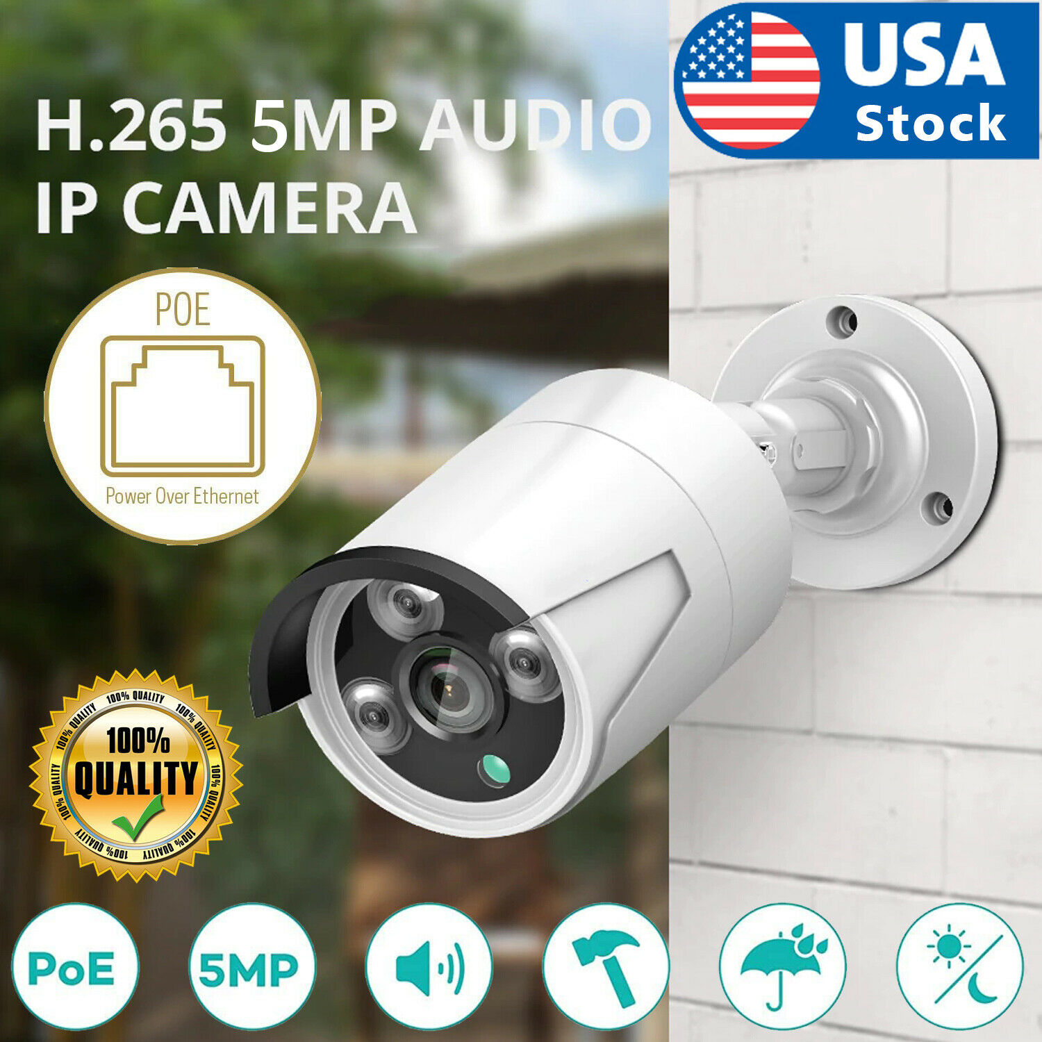 5MP PoE Audio Security IP Security Camera Outdoor Waterproof Motion Detect CCTV Consumer Electronics