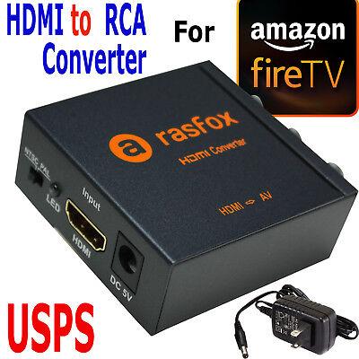 HDMI to 3 RCA AV Converter for Amazon Fire TV,Fire Streaming Stick,Fire TV Stick Rca Hdmi Televisions