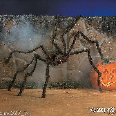 HALLOWEEN Haunted House Decoration Prop Creepy HAIRY SPIDER w/ LED LIGHT UP - Halloween Eye