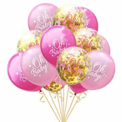 Konfetti Luftballon Set für Baby Shower Party Mädchen 15 Deko Ballons Rosa Gold
