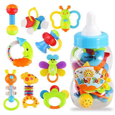 Baby Teether Rattle Toy Set Newborn Infant Teething Toys 9PCS Gift Set BPA Free