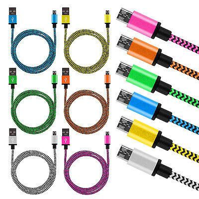 6 x 2m Micro USB Ladekabel Kabel Datenkabel Nylon Kordel Samsung Galaxy S6 HTC