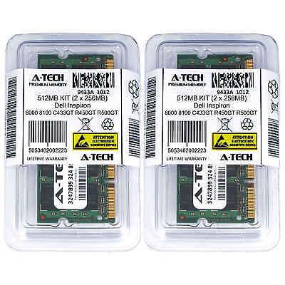 512MB KIT 2 x 256MB Dell Inspiron 8000 8100 C433GT R450GT R500GT Ram (512 Mb Memory Kit)