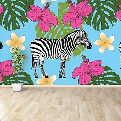 Einfach Zebra (Fototapete Selbstklebend Einfach ablösbar Mehrfach klebbar Tropisches Zebra)