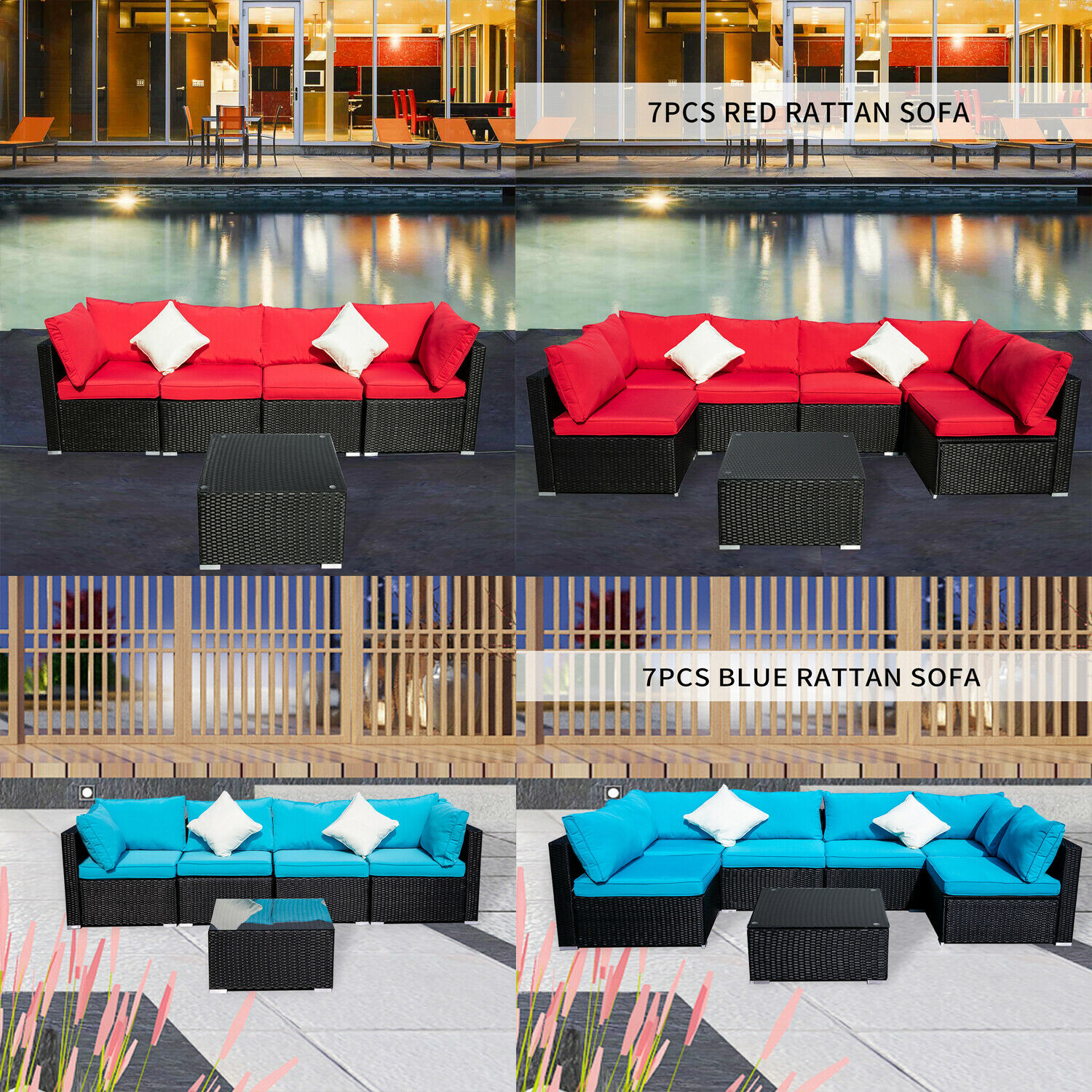 Garden Furniture - 5/7PCS Patio Rattan Wicker Set Sectional Couch Outdoor Garden Furniture